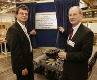 Sir David McMurtry (r) opens the Renishaw Advanced Metrology Centre