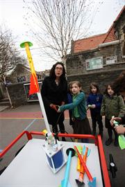 Children build a rocket using the Brunel Badge Loan Box equipment
