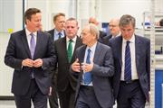 The Prime Minister with Sir David McMurtry (Renishaw's Chairman and Chief Executive) and Neil Carmichael MP