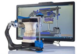 Articulator in front of screen